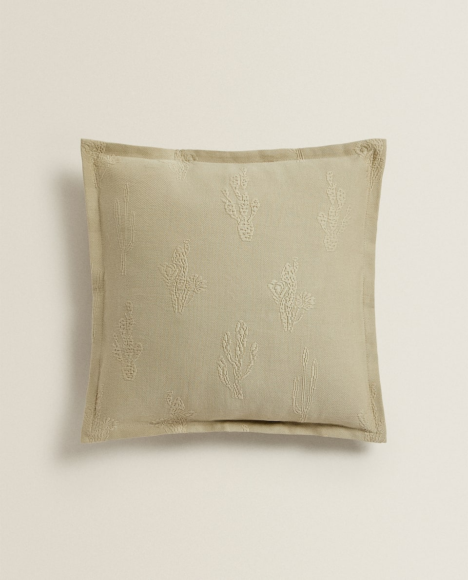 CACTUS PIQUÉ CUSHION COVER