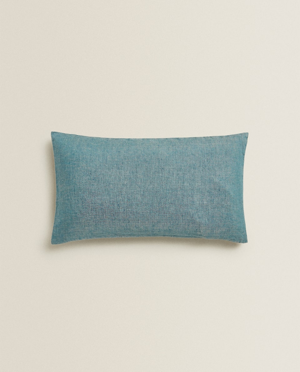 WRINKLE-EFFECT LINEN CUSHION COVER
