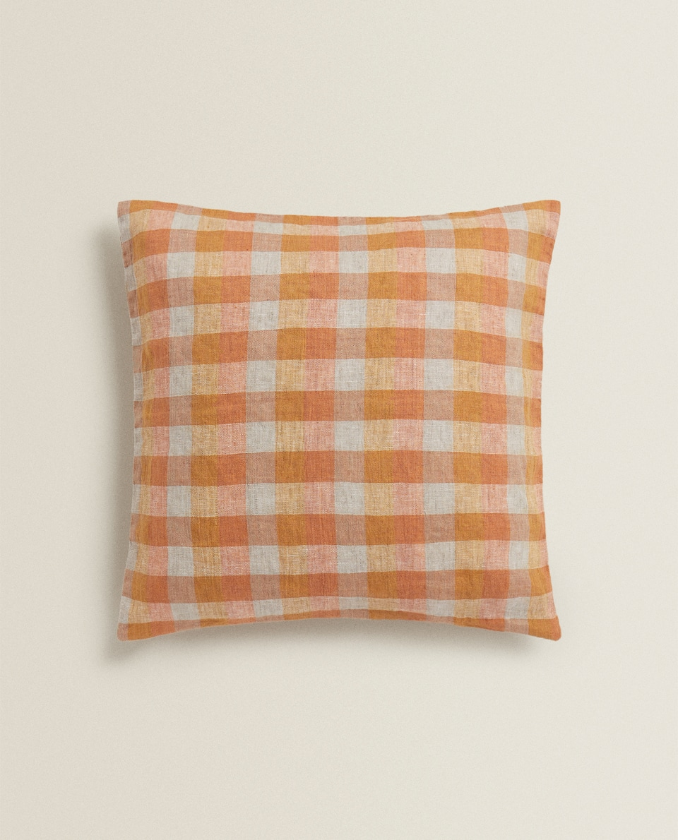 COLOURED CHECK CUSHION COVER