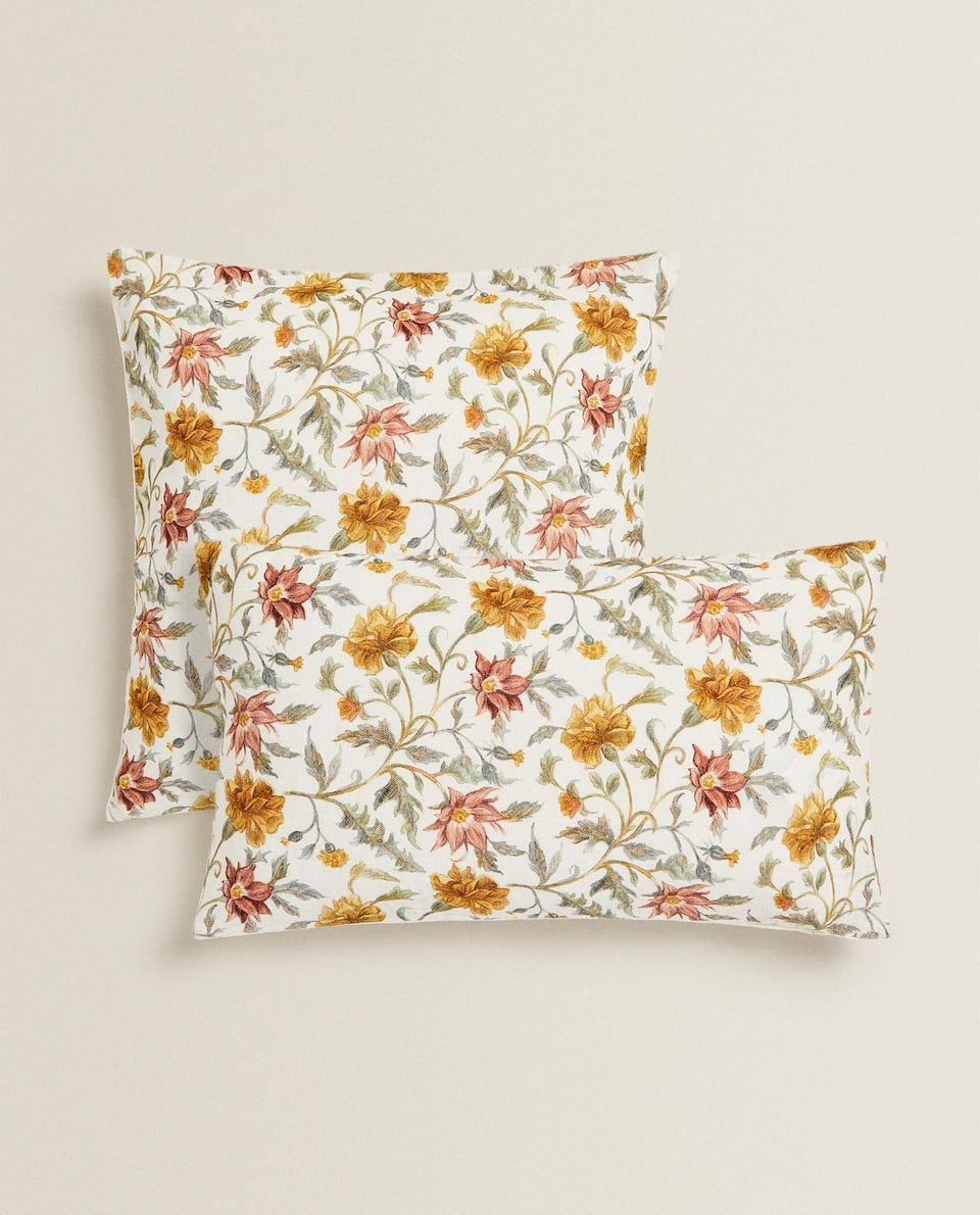 FLOWER AND LEAF CUSHION COVER