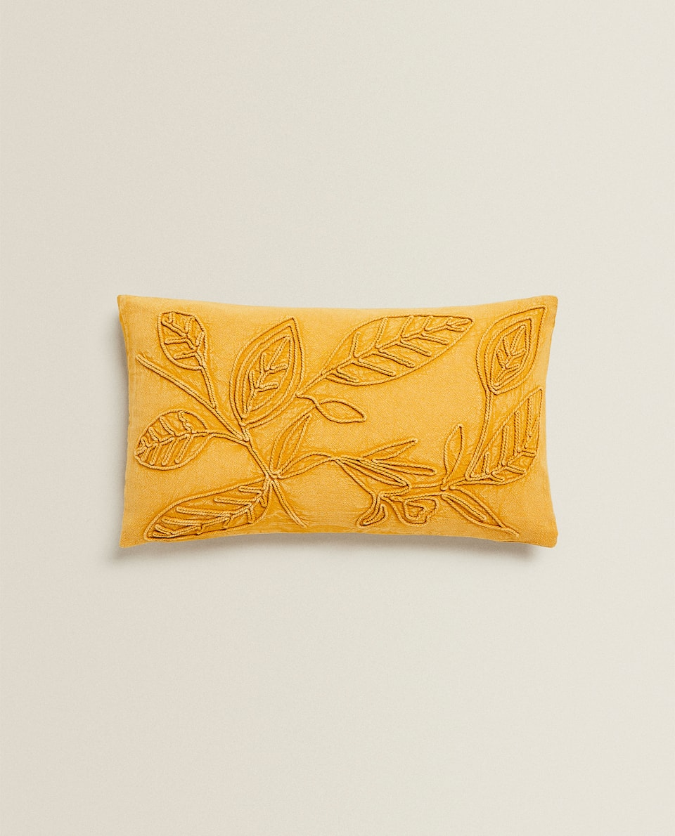 CUSHION COVER WITH EMBROIDERED LEAVES