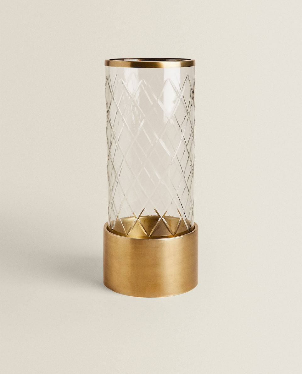 METAL AND CUT GLASS UMBRELLA STAND