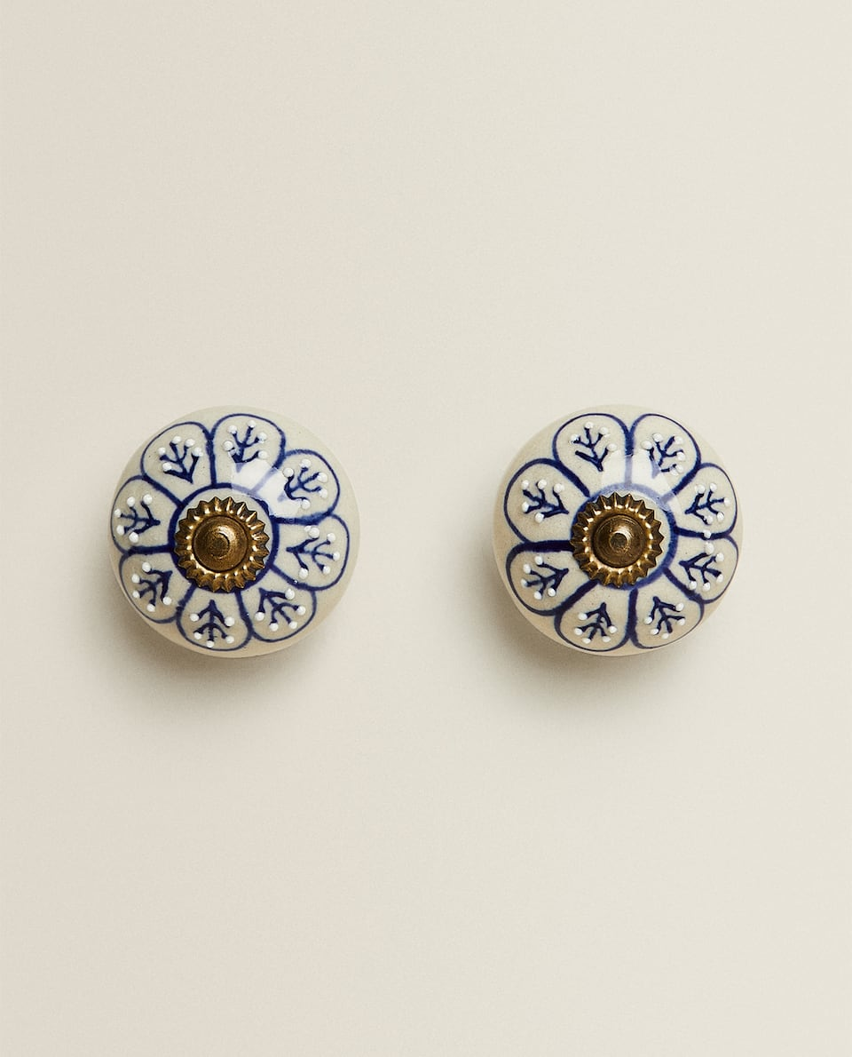CERAMIC FLOWER DOOR KNOB (PACK OF 2)