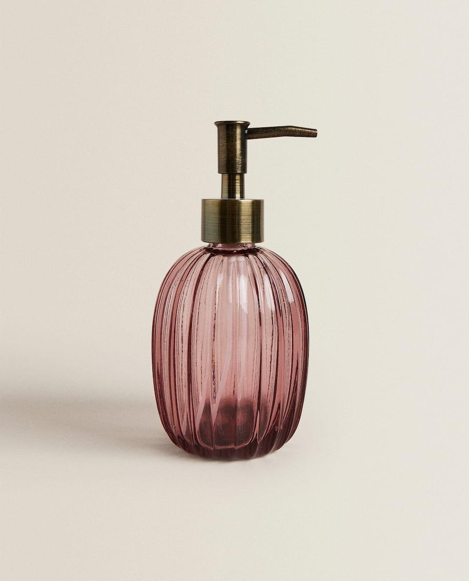 موزع صابون من الزجاج المضلع