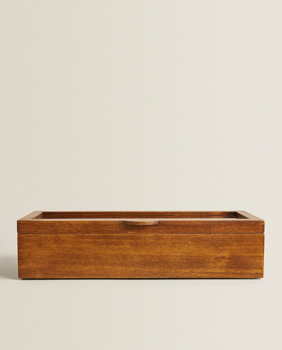 WOODEN AND LINEN WATCH BOX