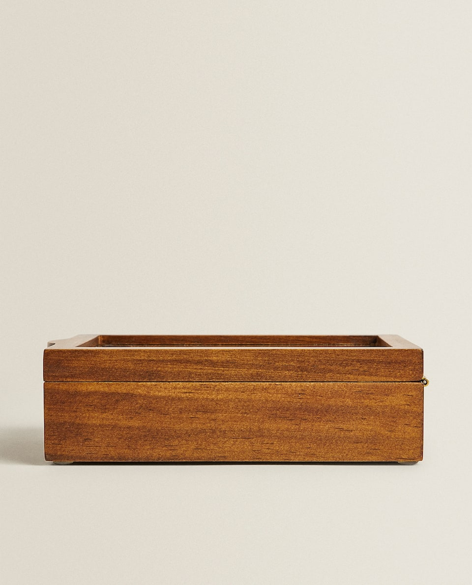 WOODEN AND LINEN JEWELLERY BOX
