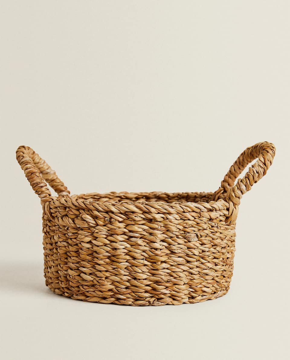 WOVEN BREAD BASKET WITH HANDLES
