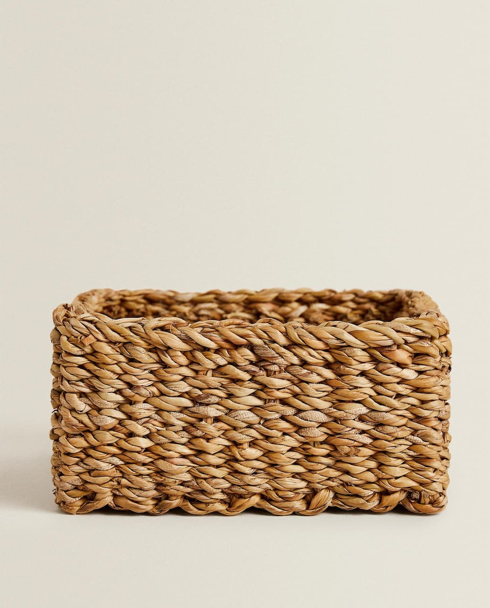 SQUARE WOVEN BASKET WITH HANDLES
