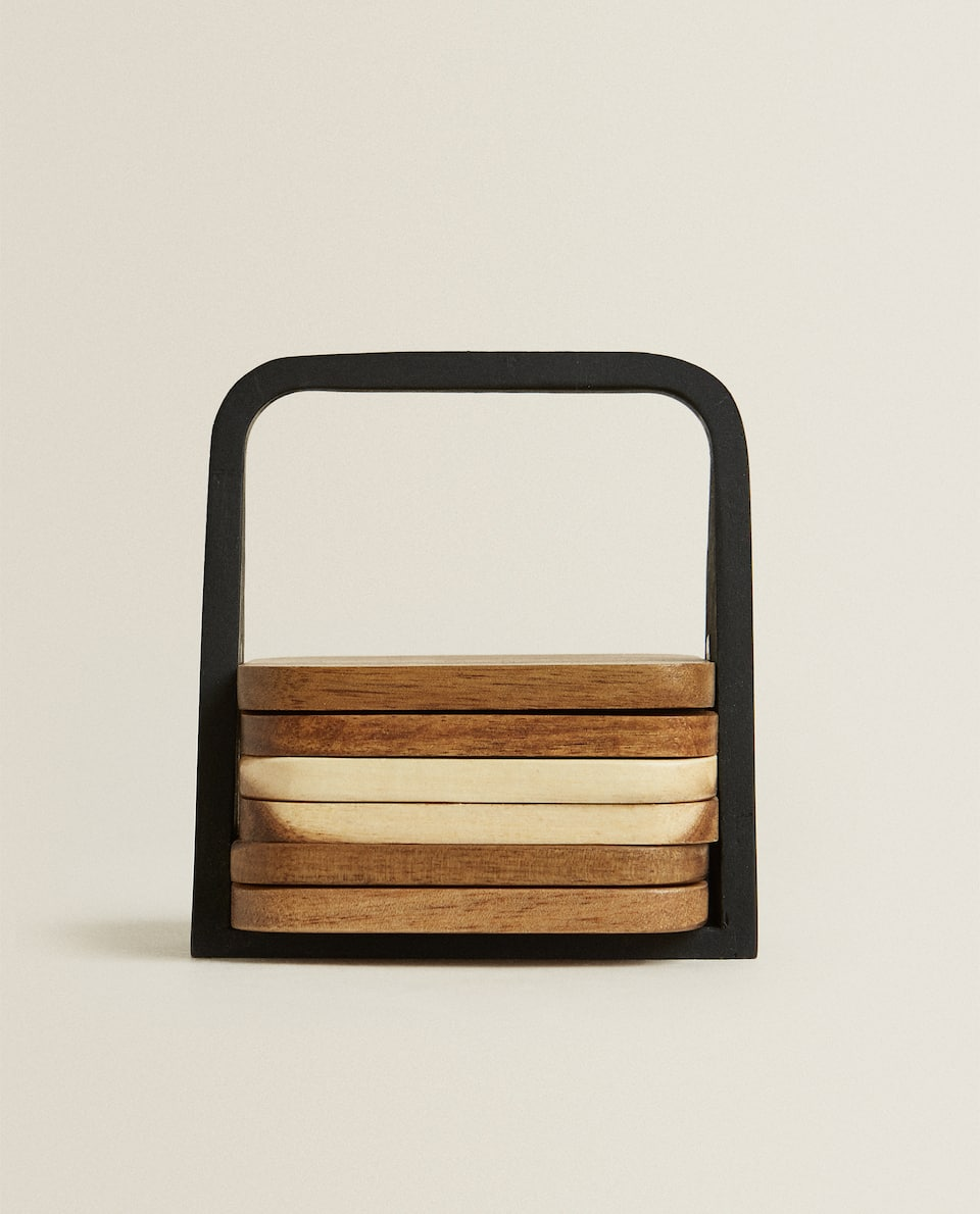 WOODEN COASTER WITH MAGNETIC BASE (PACK OF 6)