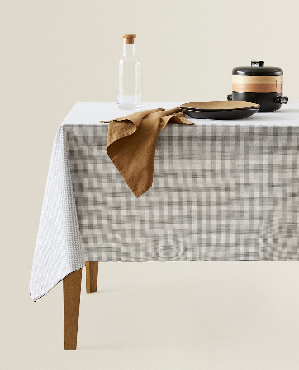 COTTON TABLECLOTH WITH MINI CHECKS