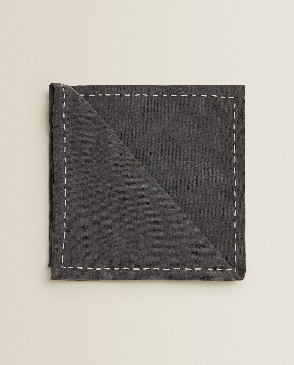 FADED-EFFECT NAPKIN WITH FRINGING (PACK OF 2)