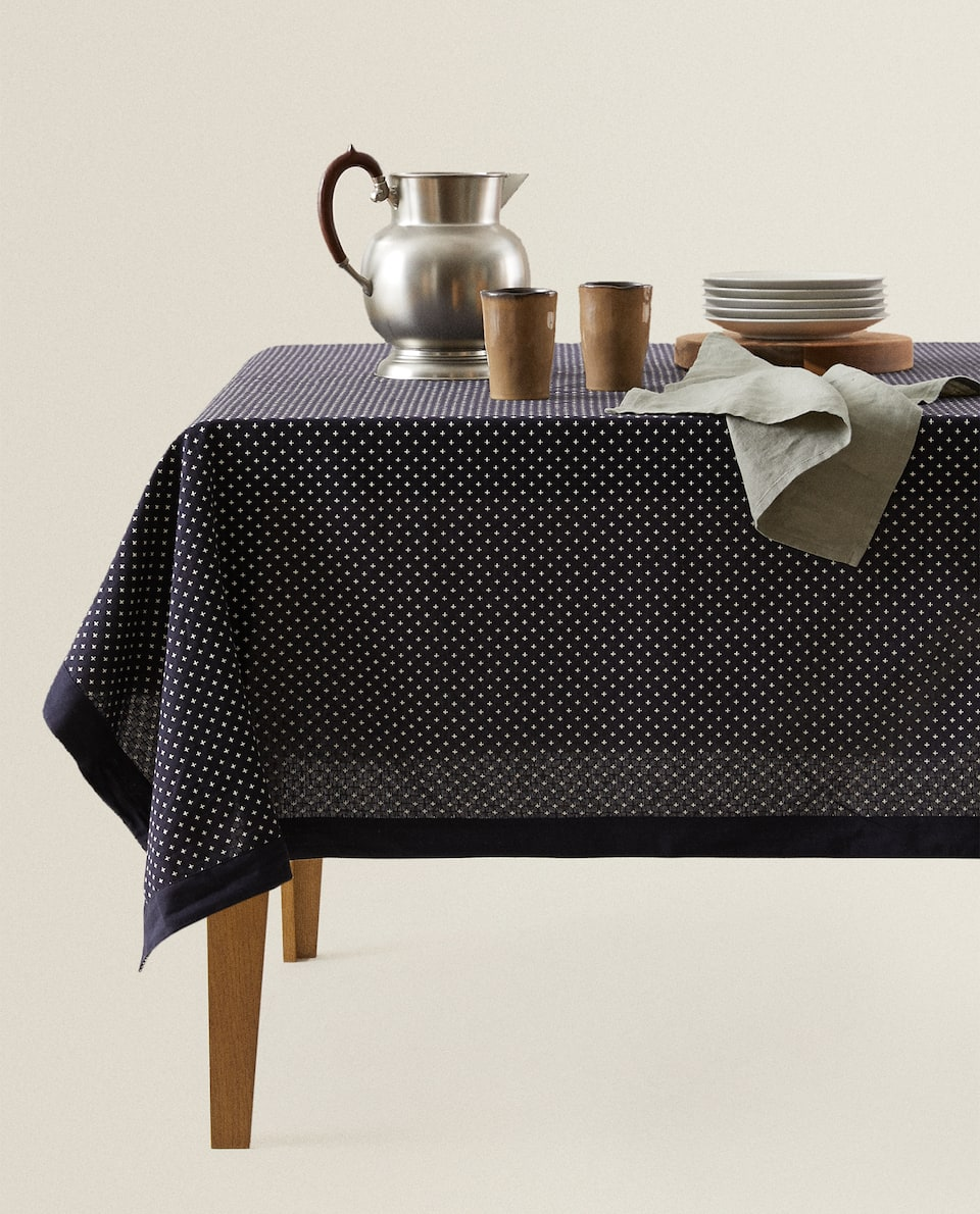 TABLECLOTH WITH EMBROIDERED MINI CROSSES