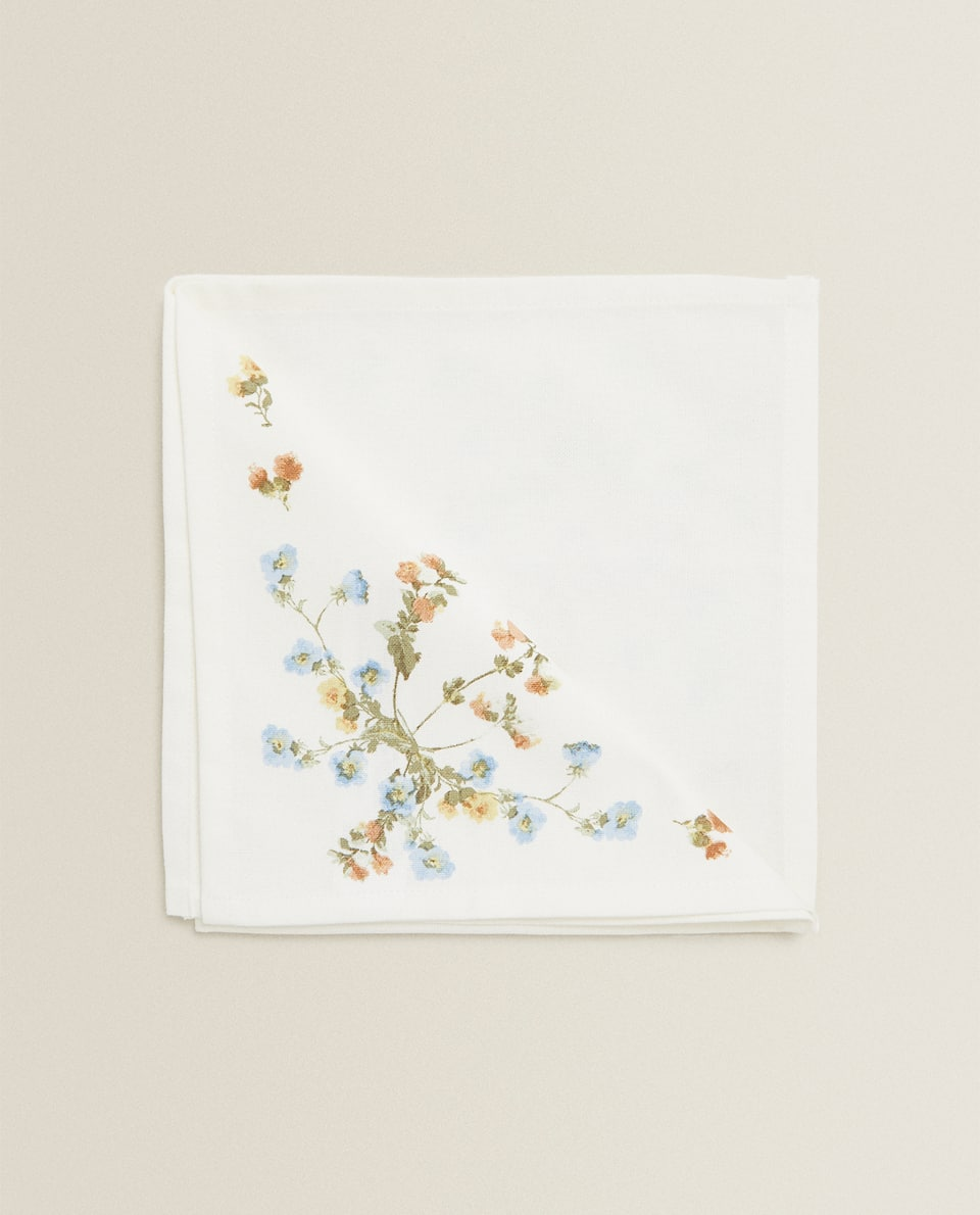 SERVIETTE DE TABLE FLEURS (LOT DE 2)