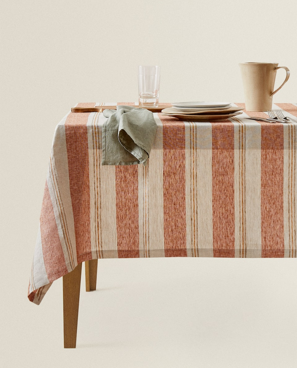 STRIPED LINEN TABLECLOTH
