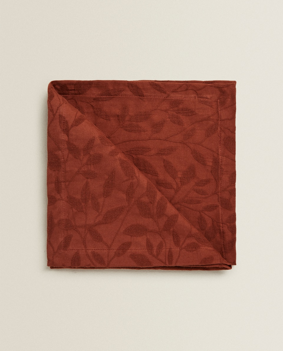 JACQUARD LEAF NAPKINS (PACK OF 4)