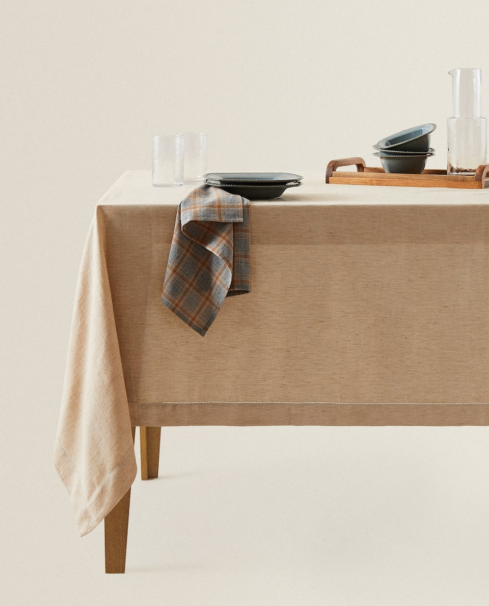 LINEN AND COTTON HEMSTITCHED STRIPED TABLECLOTH