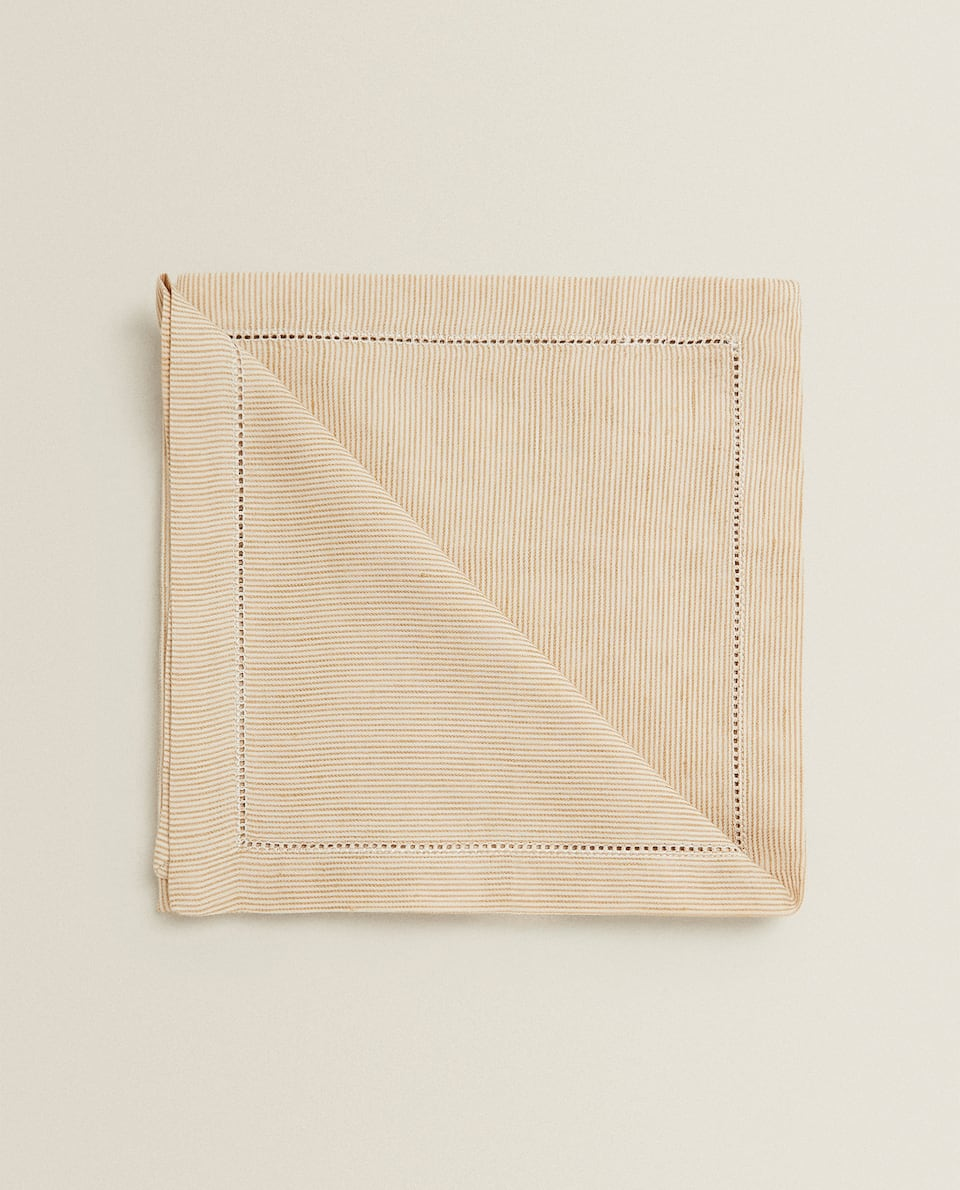 LINEN AND COTTON HEMSTITCHED STRIPED NAPKIN (PACK OF 2)