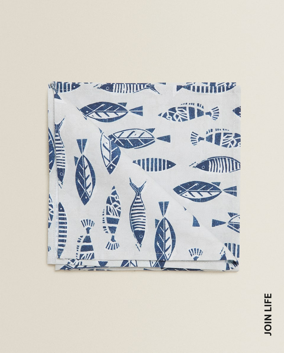 SERVIETTE DE TABLE IMPRIMÉ POISSONS (LOT DE 2)