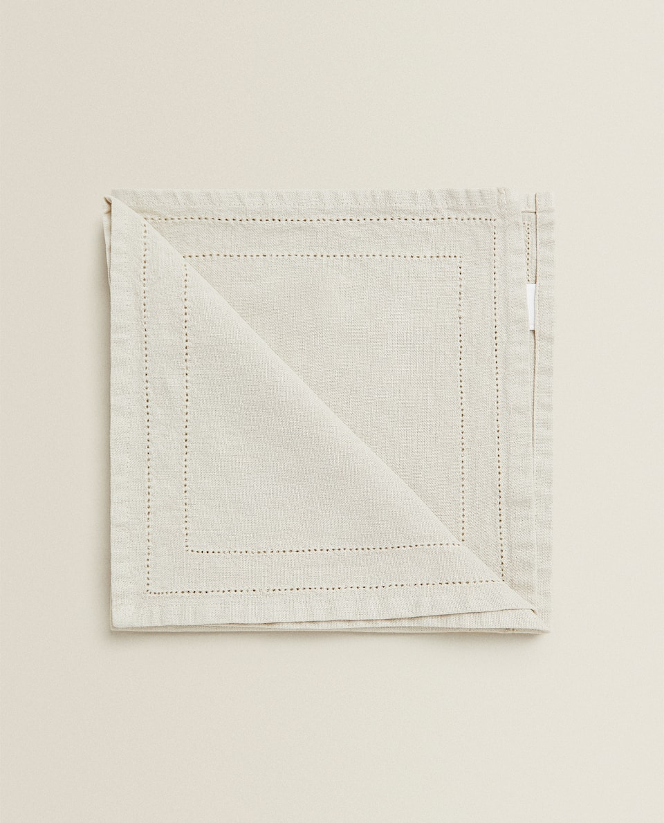 SERVIETTE DE TABLE LIN BRODERIES JOUR ÉCHELLE (LOT DE 2)