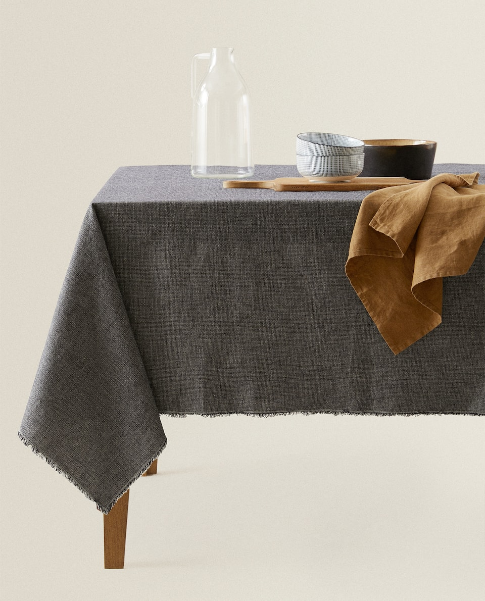 DYED THREAD LINEN TABLECLOTH