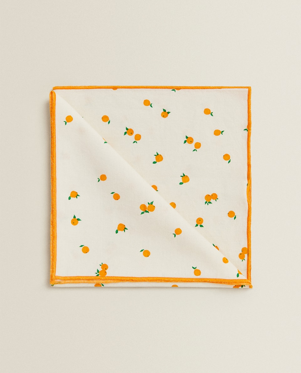 SERVIETTE DE TABLE COTON ORANGES (LOT DE 2)