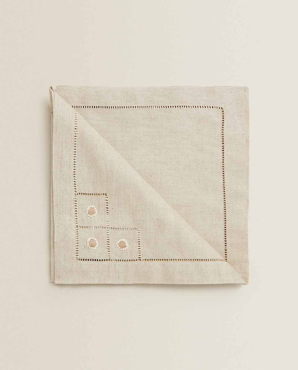 LINEN NAPKIN WITH HEMSTITCHING (PACK OF 2)