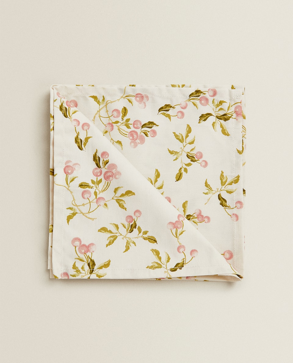 SERVIETTE DE TABLE IMPRIMÉ CERISES (LOT DE 2)