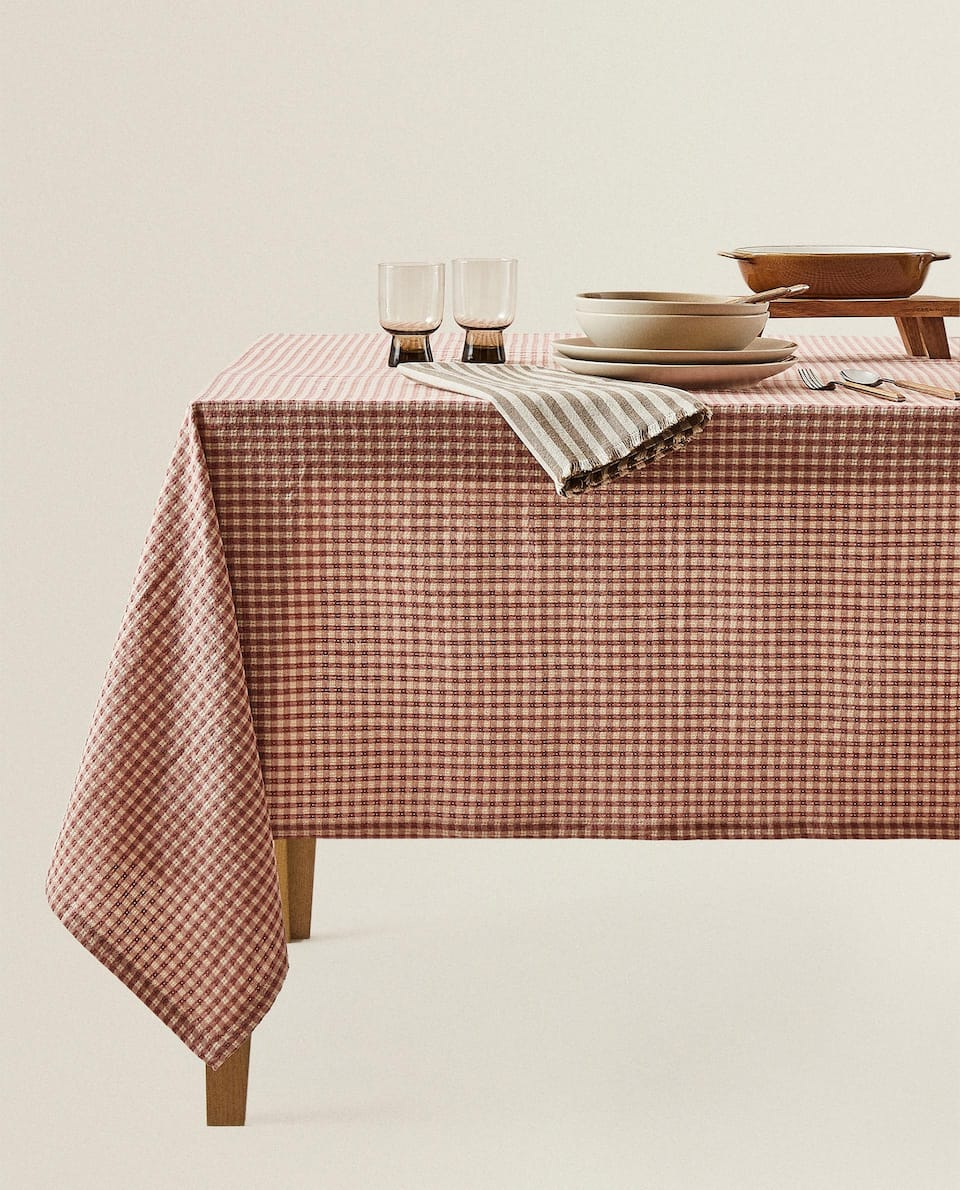 PINK CHECK COTTON TABLECLOTH