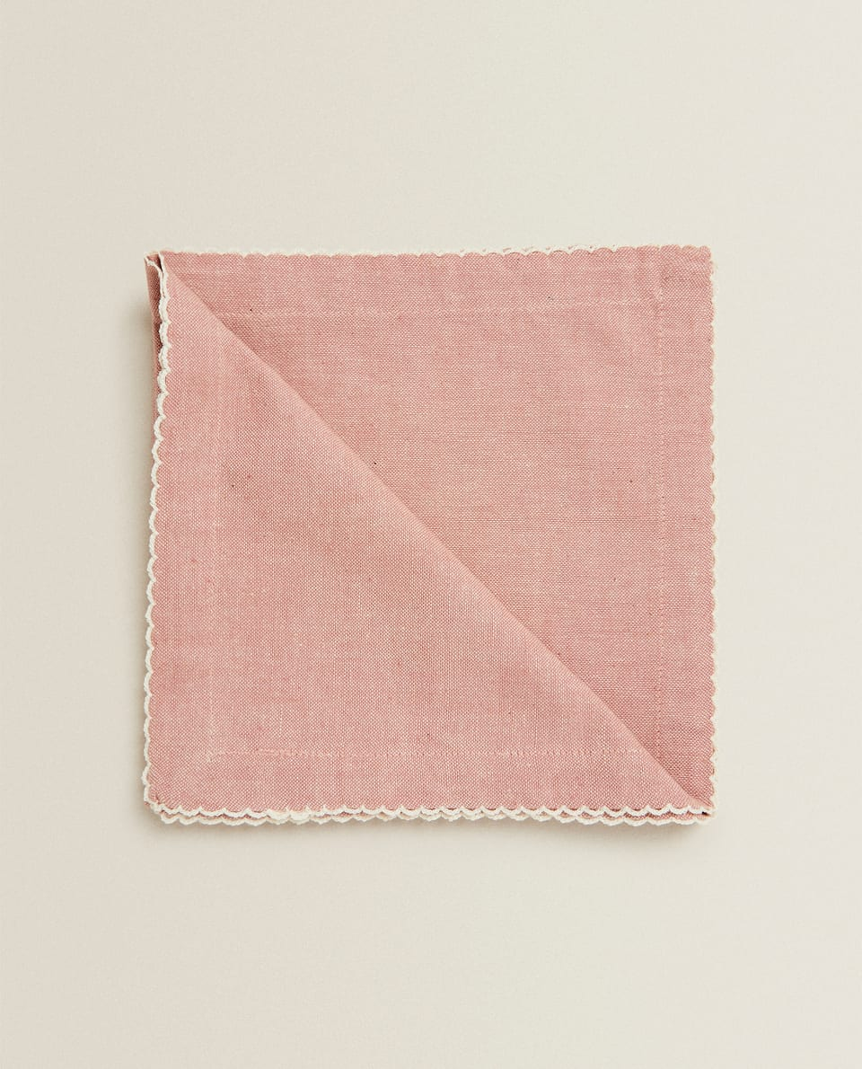 SERVIETTE DE TABLE À CARREAUX ROSES (LOT DE 2)