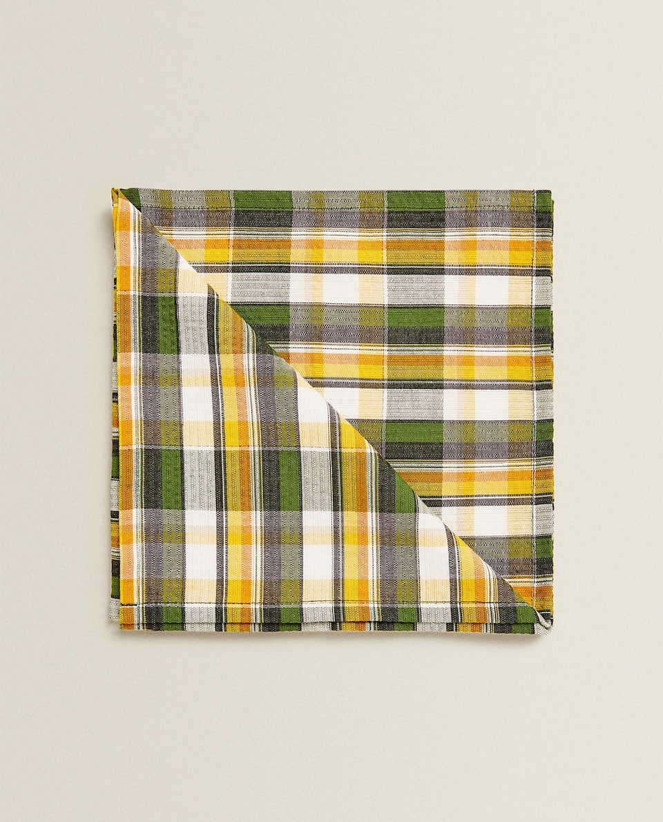 COLOURED CHECK NAPKIN (PACK OF 2)