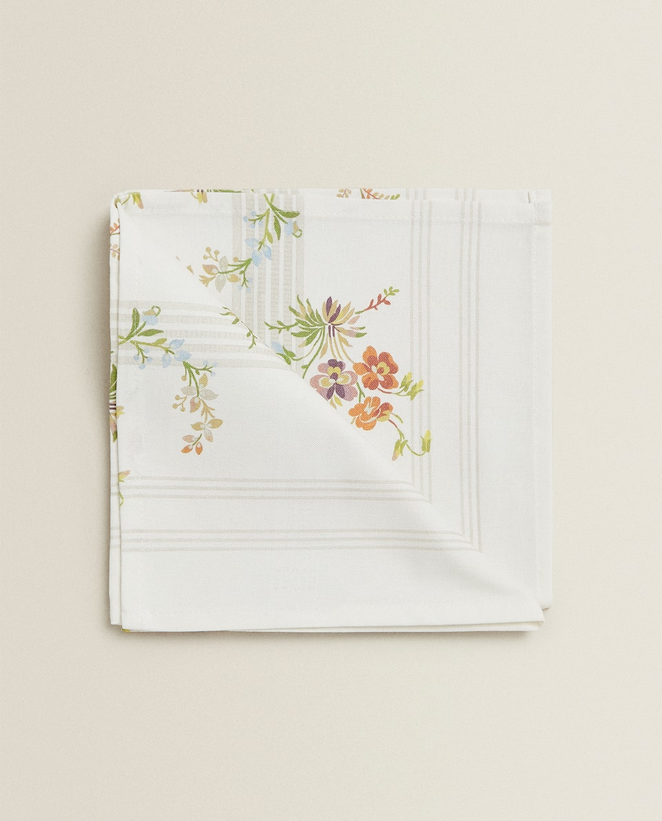 FLORAL AND STRIPE PRINT COTTON NAPKINS (SET OF 2)