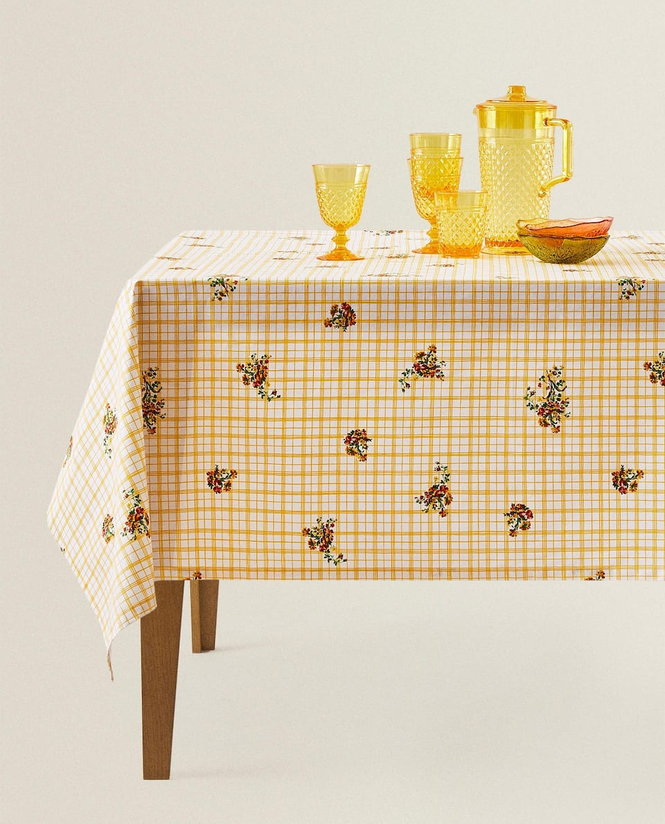 RESIN CHECK TABLECLOTH WITH FLORAL PRINT