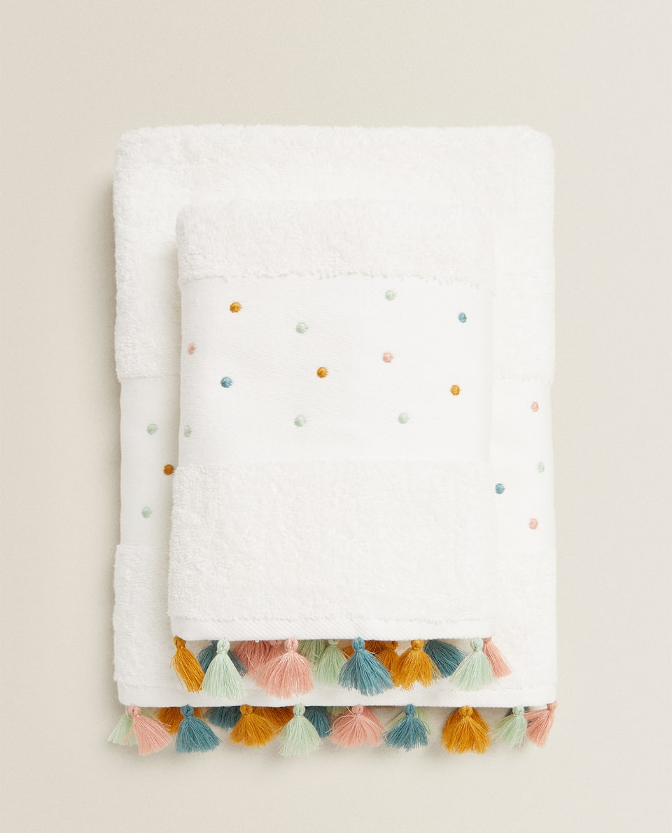 POLKA DOT EMBROIDERED TOWEL