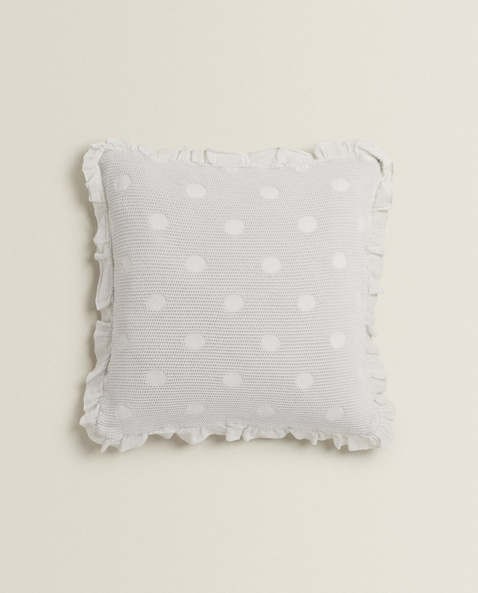 WAFFLE-KNIT CUSHION COVER WITH RUFFLE TRIM