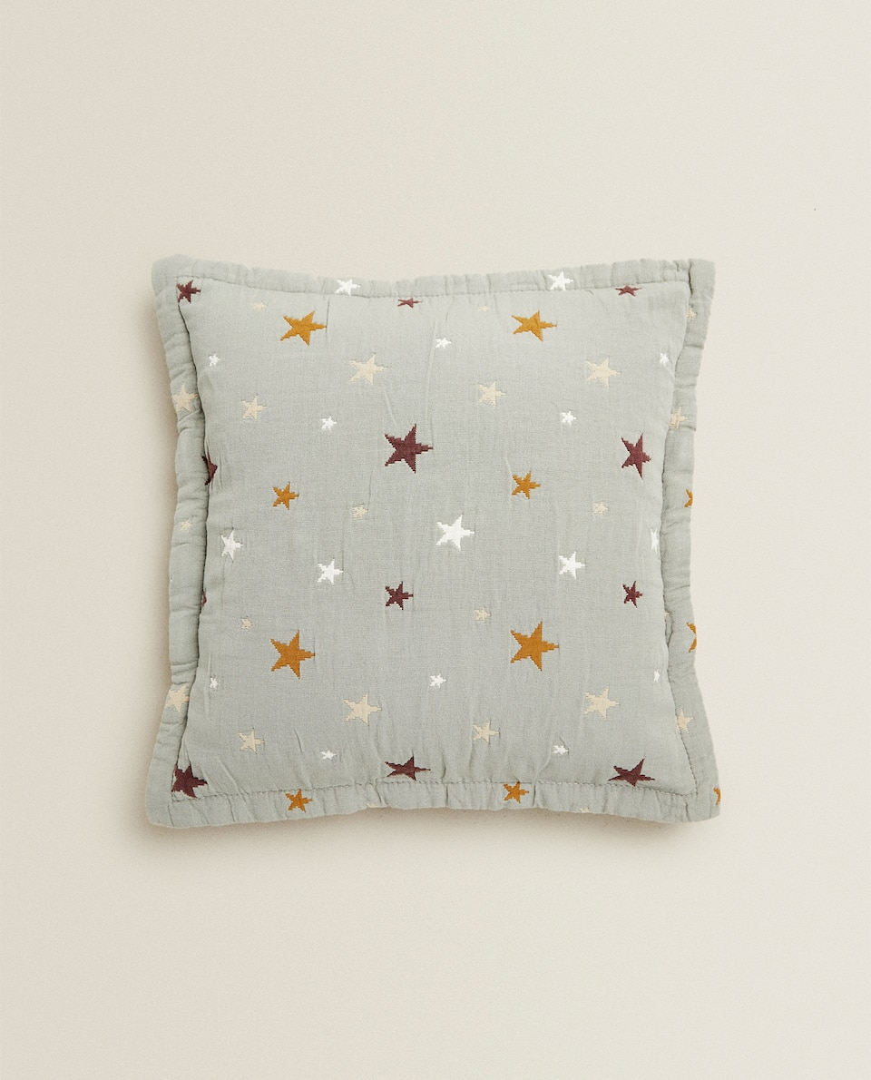 JACQUARD CUSHION COVER WITH STARS