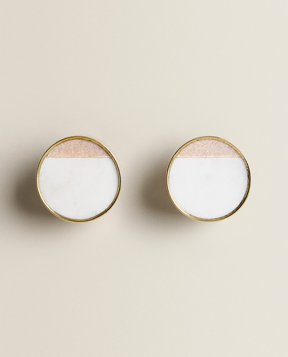 TWO-TONE ROUND MARBLE DOOR KNOB (PACK OF 2)