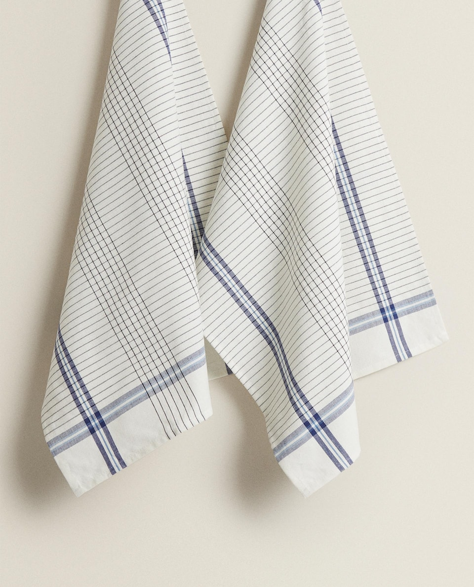 TEA TOWEL WITH STRIPES AND CHECKS (PACK OF 2)