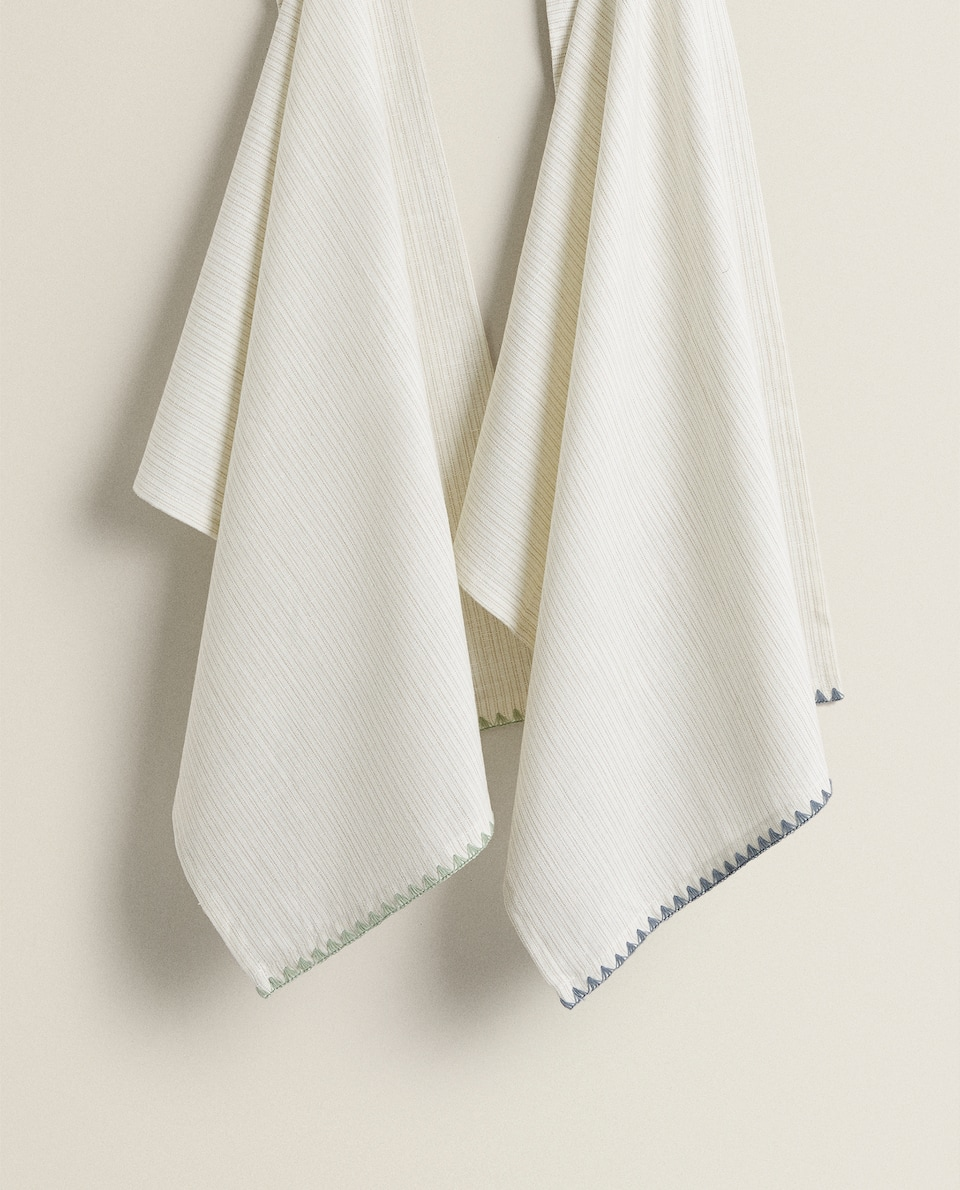DYED COTTON TEA TOWEL WITH DETAIL (PACK OF 2)