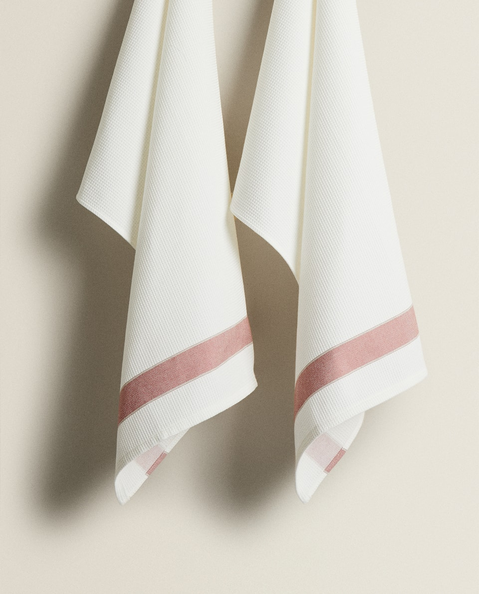 WAFFLE-EFFECT TEA TOWEL WITH STRIPE (PACK OF 2)