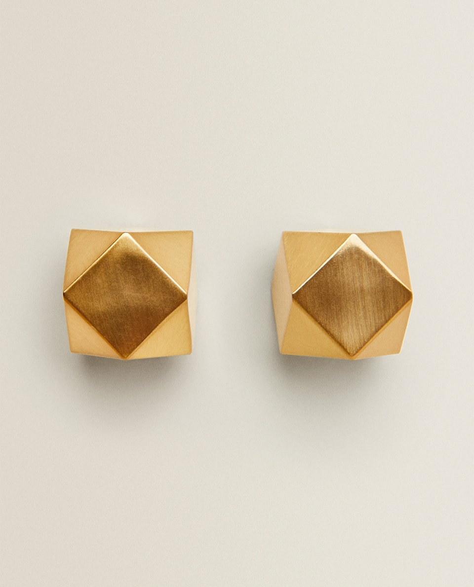 GOLD METALLIC CUBE DOOR KNOB (PACK OF 2)