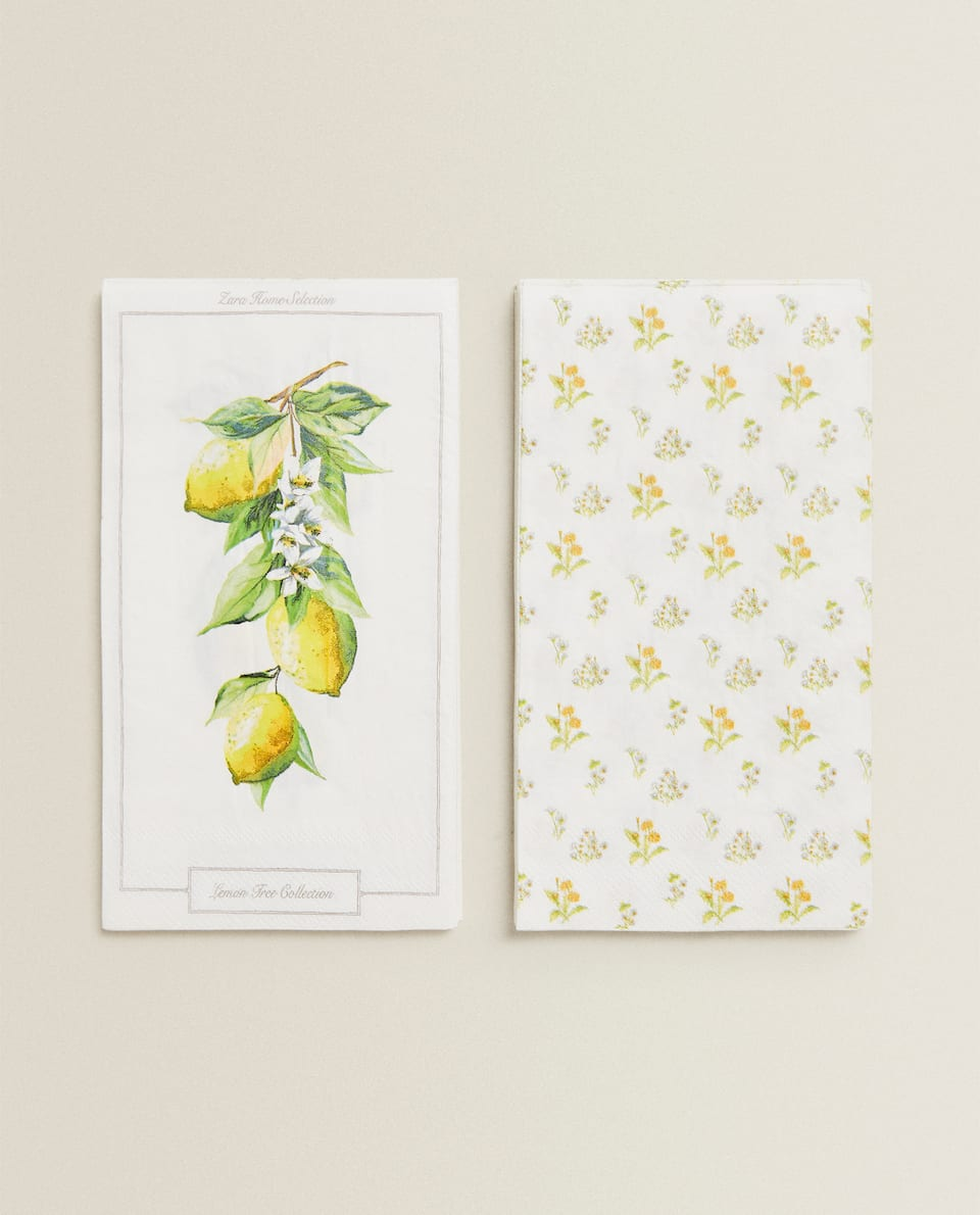 SERVIETTE DE TABLE PAPIER CITRONS (LOT DE 30)