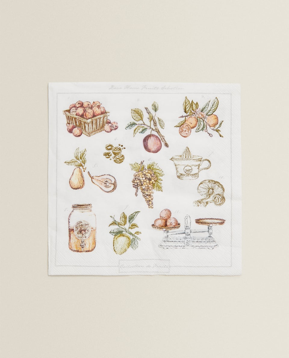 SERVIETTES DE TABLE EN PAPIER FRUITS (LOT DE 20)