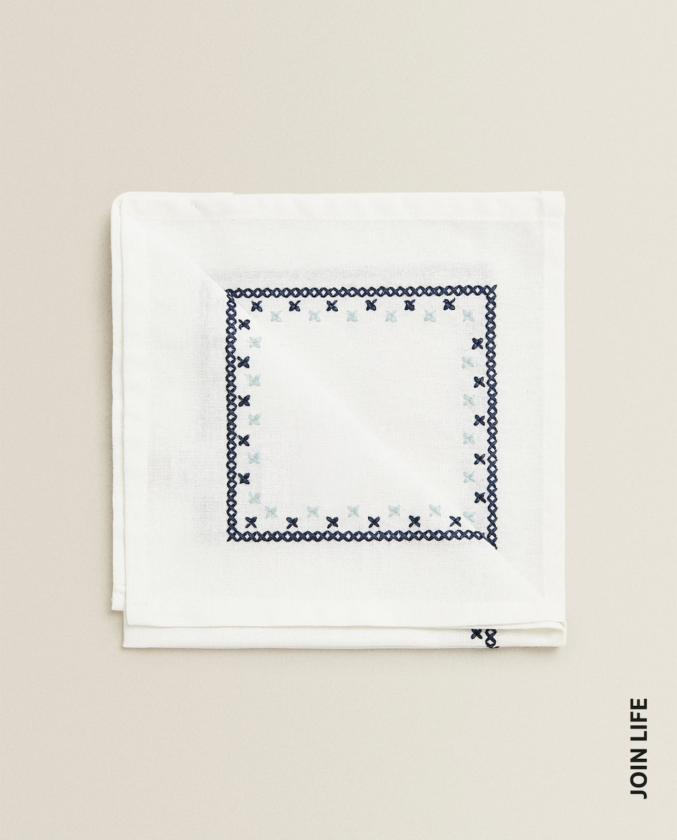 SERVIETTE DE TABLE COTON BRODERIE (LOT DE 2)