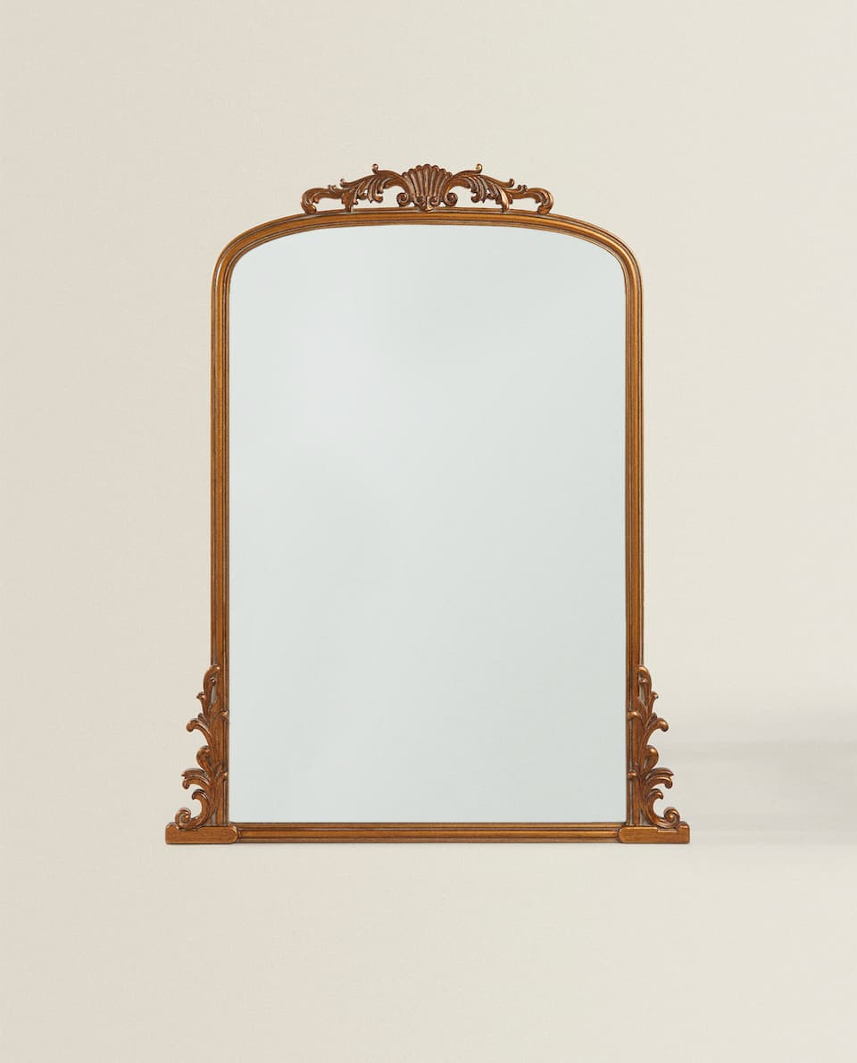 DECORATED WOOD MIRROR