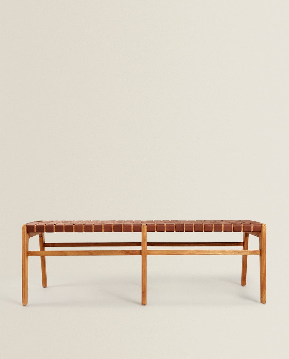 WOODEN AND LEATHER BENCH