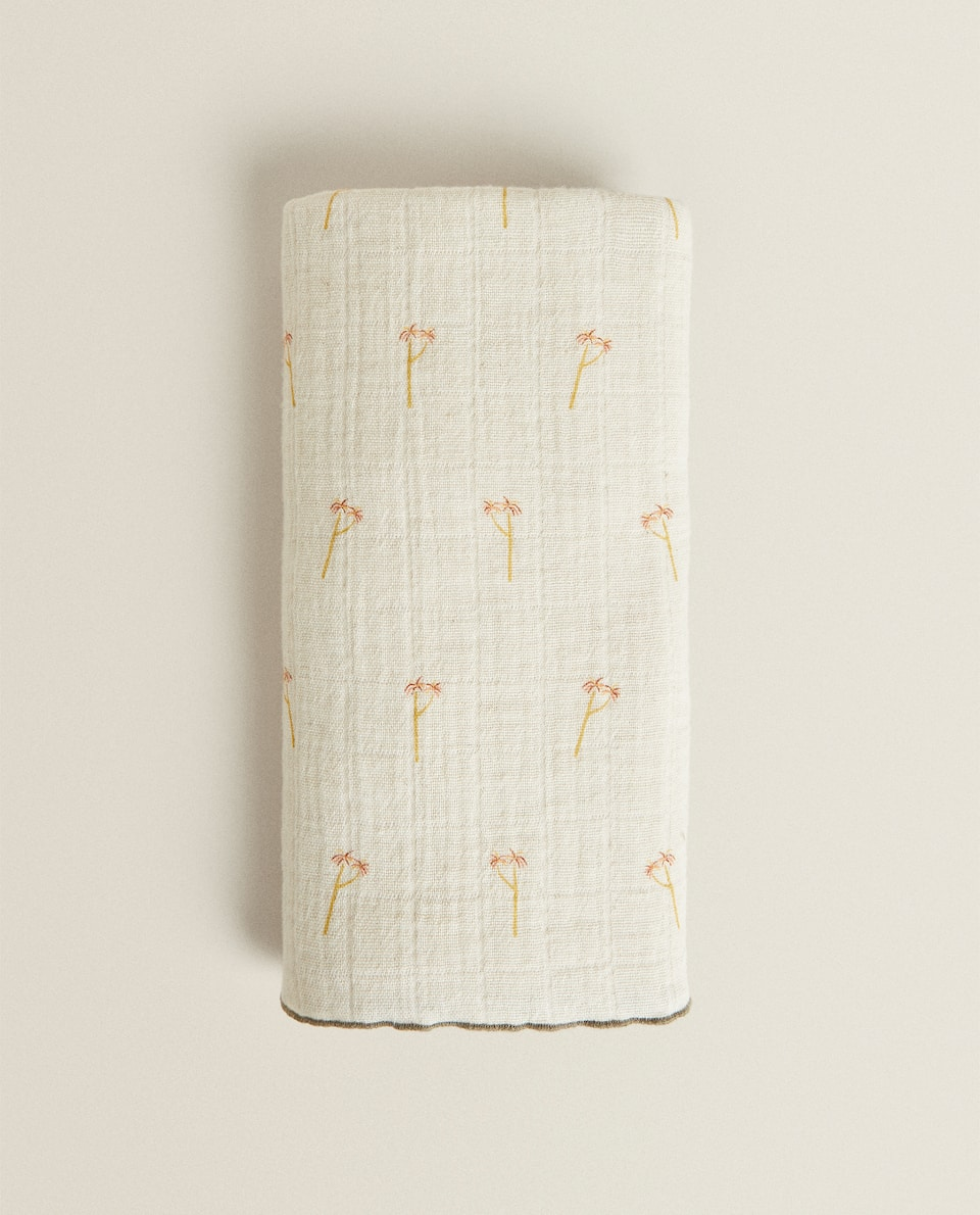 LARGE COTTON AND LINEN PALM TREE PRINT MUSLIN