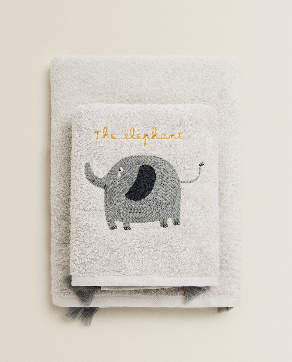 TOWEL WITH EMBROIDERED ELEPHANT