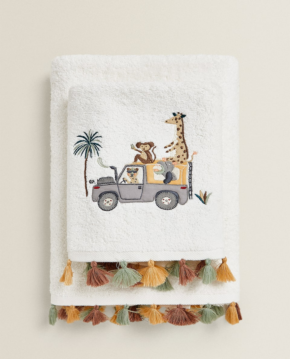 EMBROIDERED SAFARI TOWEL