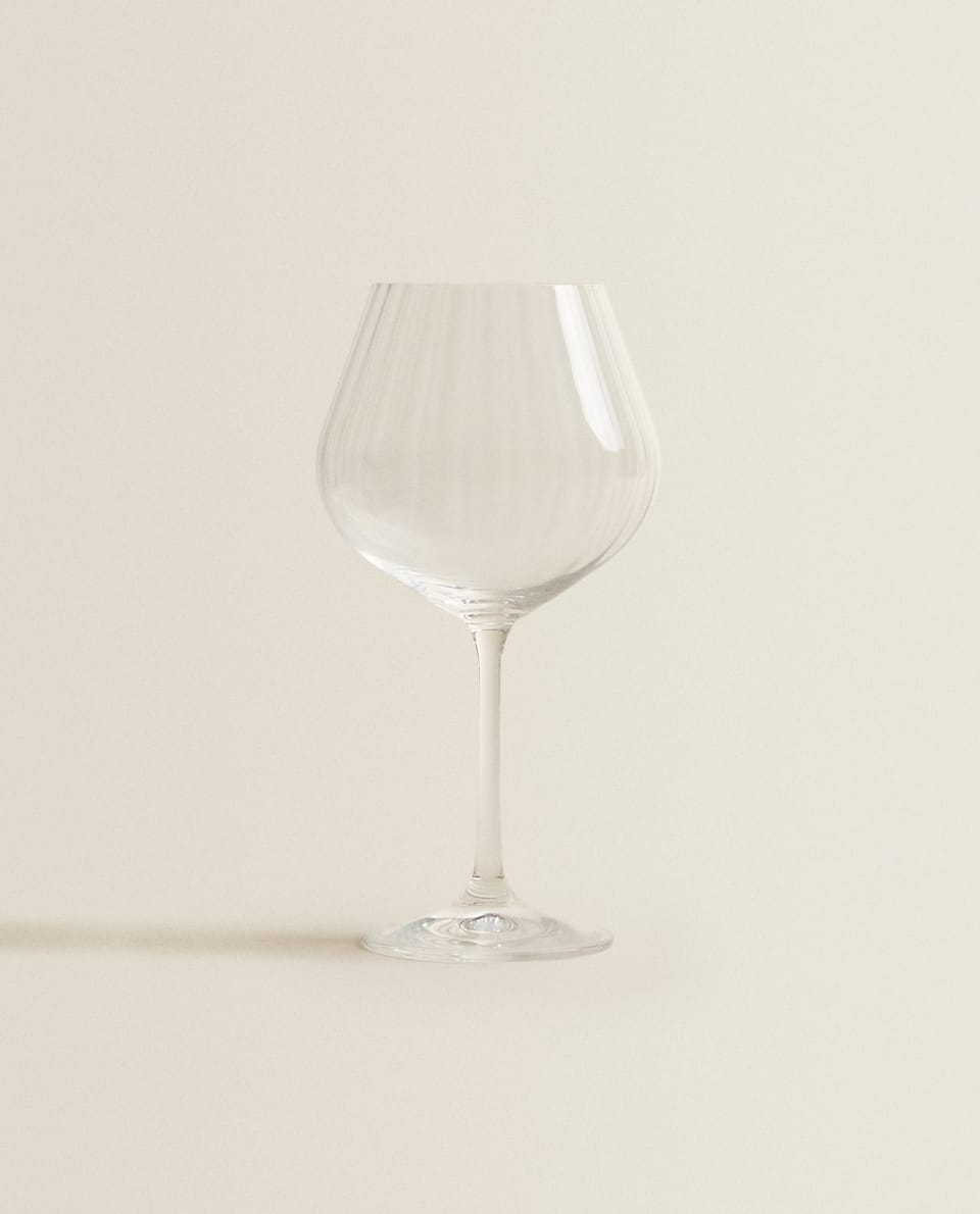 WAVY-EFFECT BOHEMIA CRYSTAL WINE GLASS