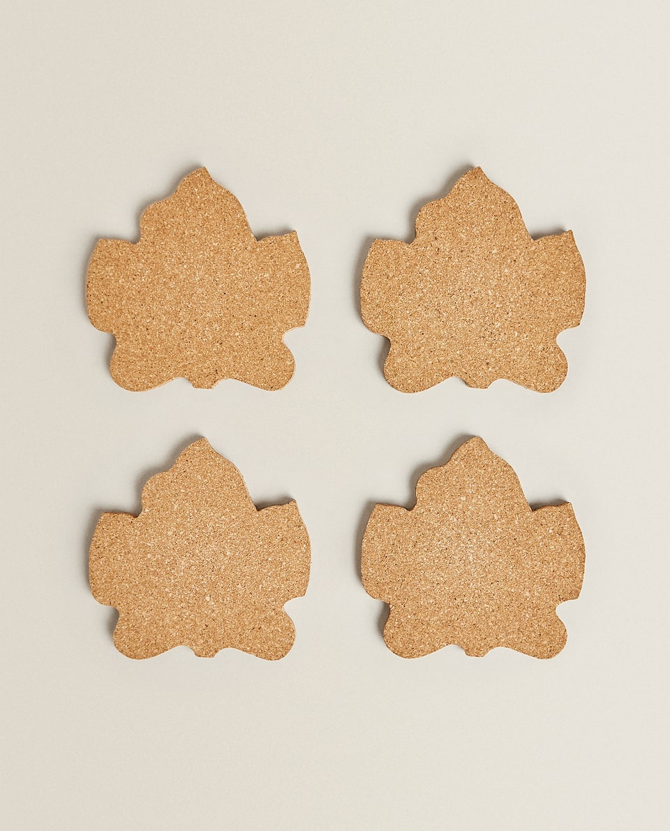 LEAF-SHAPED CORK COASTERS (PACK OF 4)